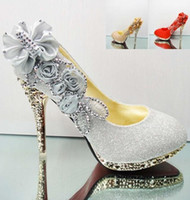 Wedding Heels Kitten Heel Hot Sales Bridalmaid Shoes Rhinestone Sparkling Flowers Bridal Bridesmaid Luxury 10cm High Heels Party Prom Shoes 2014 Wedding Women's Shoes