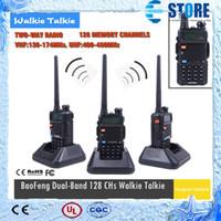 Wholesale Hot NEW Portable BAOFENG UV R Walkie Talkie Mhz Dual Band UHF VHF Two Way Radio Interphone wu