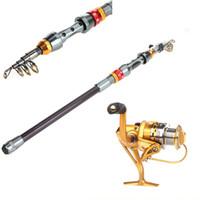 Wholesale New M FT Portable Telescope Carbon Fiber Fishing Rod Travel Spinning Fishing Pole BB Sea Fishing Spinning Reel H9974 H10043