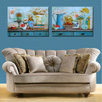 Printed Modern Flower 2 Panels Huge Modern blue flower Baskets Decorative Canvas Painting Living Room Paint Picture Print Wall Hanging Art