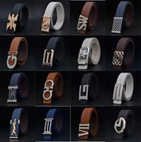 Wholesale Mixed style mixed color unisex leather waist belt different design buckle men s belt strap high quality