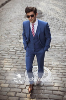 Wholesale Handsome dark blue custom made wedding suits for men Groom Groomsmen Tuxedos mens wedding suits Jacket Pant Vest Tie