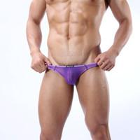 Bikini Sexy Solid Wholesale-407-lace underwear sexy men panties g-string thong gay male jockstrap Mesh gauze briefs see through panties gay male t-back shorts