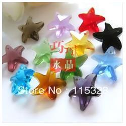 Free Shipping! Wholesale 50Pcs lot 14mm Crystal Glass Faceted Starfish Curtains Pendant Beads In Bulk For Jewelry Making