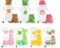 Wholesale 7 Style Baby Rompers Long Sleeve Cotton Baby infant cartoon Animal newborn baby clothes romper hat pants Set Clothing Set