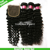 Wholesale Queen hair products1pcs lace closure with bundles unprocessed virgin hair deep curly quot quot via DHL UPS