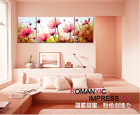 Printed Modern Flower free shipping 4Panels modern Living Room Decorative Canvas Painting Modern Huge Picture Paint Print Art Romance Flower Wall