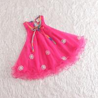 TuTu Summer A-Line Retail girl birthday dress 2014 children dress Princess dress Big bowknot dress for summer girl choths
