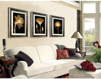Printed Modern Flower 3 Piece Free Shipping Modern Wall Painting transparent golden Flowers Home Decorative Art Picture Paint on Canvas Prints