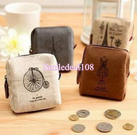 Wholesale Retro Paris Lady Girl Coin Purse Bag Change Pocket Money Wallet Zipper Pouch Card Case Key Holder