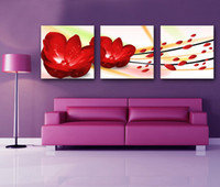 Printed Modern Flower 3 Panels Free Shipping Hot Sell Modern Wall Painting red passion Flower Decorative Art Picture Paint on Canvas Prints