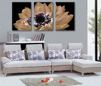 Printed Modern Flower Free shipping 3Panels Living Room Decorative Canvas Painting Modern Huge Picture Paint Print Art big Flower Wall 018