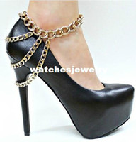 Trendy Women Fashion Wholesale-407-2014 Sexy Women gold Tone 3 Row Drapped Ankle Chains Anklet Foot Bracelet Chain For Heel Shoe Jewelry S088