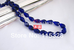 Wholesale Briolette Pendants Dark Blue x8mm Crystal Teardrop Beads