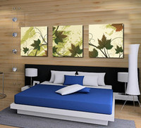 Printed Modern No 3 Panel Wall Art No Framed Modern Abstract Acrylic Flower Magnolia Green Oil Painting On Canvas Pictures Decor747