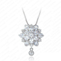 Cheap Clear CZ Flower Necklaces For Women Marquise Cut Fashion Wedding Swiss Cubic Zirconia Diamond Pendant Jewelry Necklace CNL0016-B