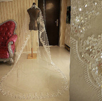Wholesale Perfect White Ivory Bride Veil with Lace Edge and Shinny paillette