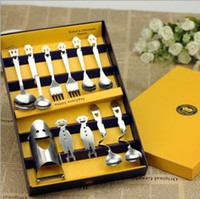 Wholesale Happy Smiling Face Stainless Steel Tableware Family Style Tableware Suit Pieces