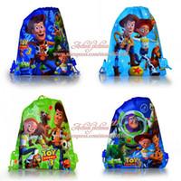 Backpacks Denim Men 4Pcs Toy Story Children Cartoon Drawstring Backpack Kids School Bags, Non-woven,34X27CM,Kids Birthday Party Gift
