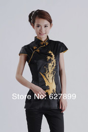 Wholesale New Summer Chinese Top Fashion Short Sleeves Blouse Phoenix Embroidered Traditional Chinese Blouse Top Jacket for women