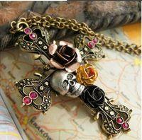 rosary - Vintage Rosary Cross Pendant Necklace For Women Skull Rose Flower Diamond Statement Necklace