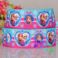 "Quilt Accessories Ribbons Christmas 10 yards 1""(25mm) Blue hot pink heats Elsa Anna Frozen princess party gift Grosgrain ribbon MOQ $10 Free shipping"