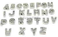 Slides, Sliders initial charms - 7MM Sparkling Crystal A Z Alphabet Letter Floating Charm Initial Locket Charms Pendants For Floating Locket DIY Charms