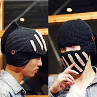 Wholesale Hot Men Women Crochet Knit Black Ski Hats Beanie Wool Roman Knight Hat Mask Caps