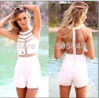 100% Linen Shorts Women 2015 Womens Celebrity Midi Bodycon jumpsuit, Ladies patchwork white sexy party one PIECES bandage dress, sleeveless short jumpsuit
