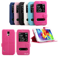 For Samsung PU&TPU White For S5 I9600 S4 I9500 Note3 N9000 Shiny Cooling Double Windows Pattern TPU and PU leather case with stand for Samsung Galaxy S5 S4 Note3