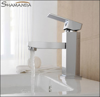 Ceramic Plate Spool Yes SHAMANDA Free Shipping Bathroom Products Solid Brass Chrome Finished Square Basin Faucet Mixer,Sinlge Handle Sink Basin Faucet Mixer Tap