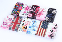 For Samsung Leather  Flip Vertical Leather Case For Samsung Galaxy S3 mini i8190 UK USA Flag Butterfly Flower Vintage Cover free shipping