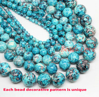 Wholesale Natura Stone Blue Colorful Stone Round Beads quot Pick Size mm F00001