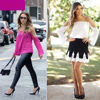 Crew Neck Flare/Bell Sleeve Long Sleeve New 2015 Fashion Women Blouses Hot Selling Casual Tulle Chiffon Blouse Summer Dudalina Blusas Femininas Shirts Tops Sale