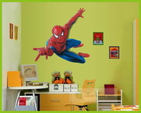 Wholesale Spider Man D Window View Cartoon Decal WALL STICKER PVC Removable Kids Children Room Nursery Wall Decor x110cm