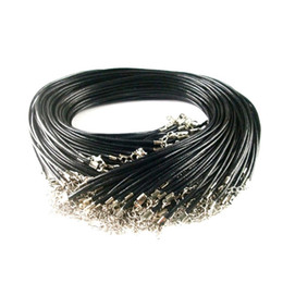 Wholesale Black Leather Snake Necklace Beading Cord String Rope Wire cm DIY Jewelry Extender Chain With Lobster Clasp Components