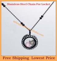 Beaded Necklaces Unisex Fashion Promotion Fashion 3mm 18'' Stainless steel IP black couple ball rolo chain for floating charm glass living locket,no locket C65