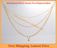 Beaded Necklaces Unisex Fashion New arrival wholesale Fashion IP 18k Gold multi-layer Stainless steel rolo chain for floating charm glass locket,no locket C62