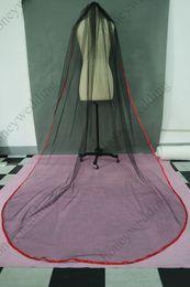 Custom Made Red Edge Black Tulle Mourning Wedding Veils Cathedral Length Bridal Veil For Wedding Dresses