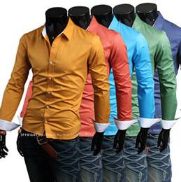Wholesale 2014 Hot Sale New Style Fashion Men Casual Shirt Popular Korean Style Slim Candy Color Men Shirt Long Sleeved Shirt