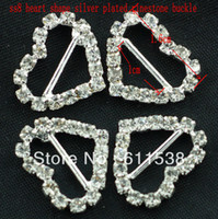 Wholesale 1 cm silver heart buckle for wedding invitation charms heart buckle crystal pieces