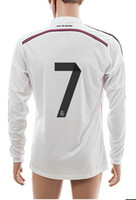 Wholesale Thai Quality Customized Madrid Home14 Season Long Sleeves Ronaldo Home Jerseys Soccer Football Jersey Long Sleeve Jersey Shirt