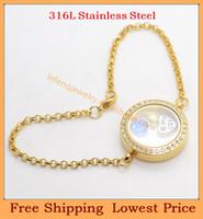 Slap & Snap Bracelets Unisex Chain & Link Bracelets Wholesale DIY 0.7mm wire 7''-8'' chain 25mm Gold Crystal 316L stainless steel living Screw glass floating locket bracelets B50