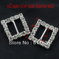 Wholesale 1 cm square rhinestone buckle for candy box wedding buckle and ribbon buckle pieces