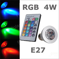 Wholesale 3W W E27 RGB LED Bulb Color Change Lamp spotlight v for Home Party decoration with IR Remote