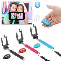 Wholesale Free DHL Extendable Handheld Self portrait Monopod selfie stick Photograph Bluetooth Shutter Camera Remote Control for iPhone Samsung