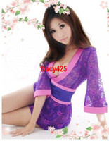 Wholesale NEW A11 Sexy Lingeries Women Ladys Lace Kimono Sleepwear Set Color Hot Sale