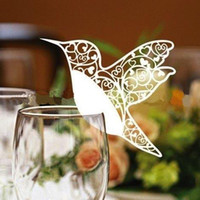 Folded wedding place cards - pc Love Bird Place Card Laser Cut Wine Glass Cards Wedding Party Decoration Z130