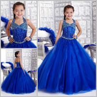 Girl kids pageant dress - 2015 Royal Blue Flower Girl Dresses Formal Pageant Girls Dresses Custom Halter Beads A Line Backless Floor Length Party Kids Evening Gowns