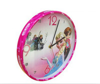 Wholesale EMS DHL Free New Hot Sell Europe Frozen Elsa Anna Originality Cartoon Children Great Wall clock High Quality Lovely Wall Clocks E0267
